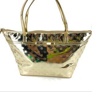 Kate Spade Gold Metallic Polka Dot Large Tote Bag